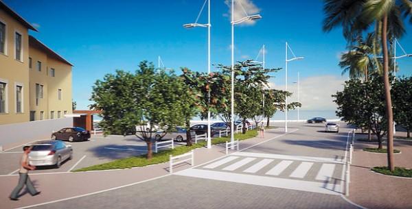 Estacionamento onde fica o Acarajé de Regina ganha paisagismo. Ligação entre a Rua João Gomes e Rua da Paciência terá piso compartilhado (Foto: Divulgação)