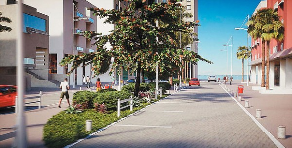 A Rua Fonte do Boi, acesso aos hotéis Pestana, Íbis e Mercure, também terá piso intertravado e espaço compartilhado entre carros e pedestres (Foto: Divulgação)